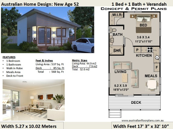 Small House Plan 52 New Age 1 Bedroom Home Design Concept Etsy