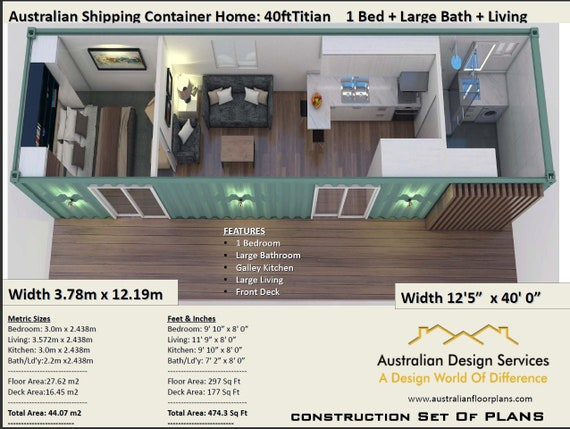 40 foot shipping container home full construction house etsy - 40ft shipping container home ...