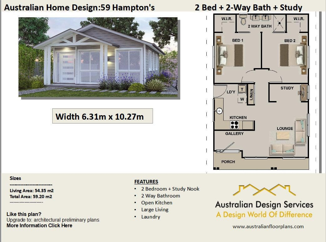 635 sq feet or 59.8 m2 Hamptons Style 2 Bedroom granny flat