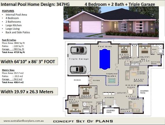 House plans 4 Bedroom house plans Triple Garage Home | Etsy