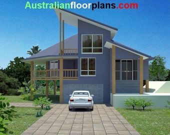 294m2 | 4 Bedrooms | Home Plan 4 bed | 4 bedroom pole home plans| Modern 4 bed Home pole home | 4 bed  blueprint | hillside home | pole home
