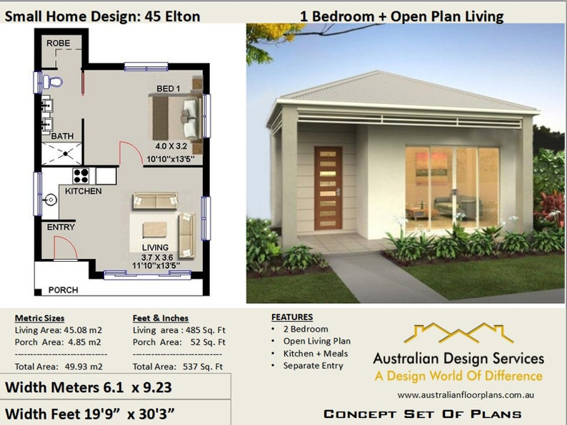 Small House Plan 45 Elton 537 Sq Foot ( 45.93 m2 ) 1 Bedroom home design -  Small and Tiny House Plans - Concept House Plans For Sale