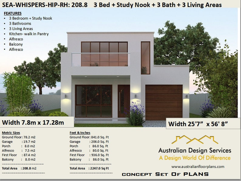 . Duplex Townhouse house plans  Modern 2 story home 208 m2   2247 sq  feet    two storey floor plans   2 story home plans   modern 2 storey