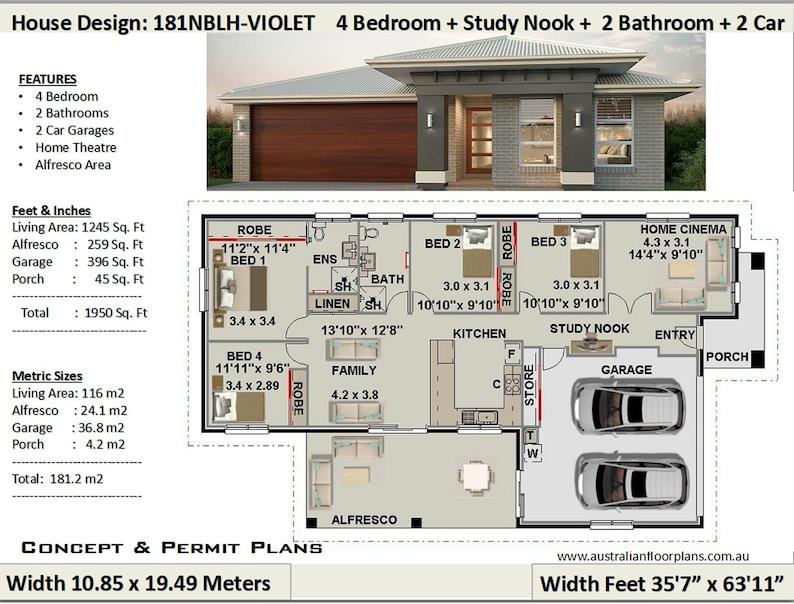 Living Area 1245 Sq.Foot 116 m2 House Plan 181NB Violet   image 0
