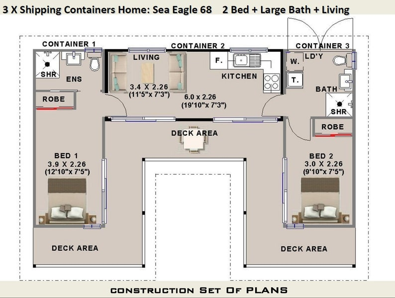 3 x Shipping Containers = 2 Bedroom Home | Full Construction House Plans |  Blueprints USA feet & Inches - Australian Metric Sizes- On Sale