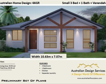 Small Home Design 66GF - 66.5m2 | 705 sq foot |  3 Bed |  design to meet granny flat requirements - Concept House Plans For Sale