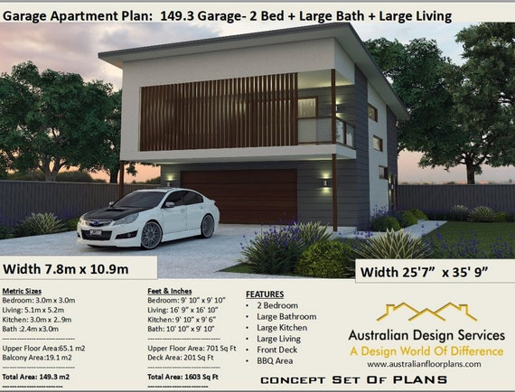 2 Bedroom house plan no- 149.3 Living Area 65.1 m2 | 701 sq foot | Garage  Apartment | carriage house | Concept House Plans For Sale
