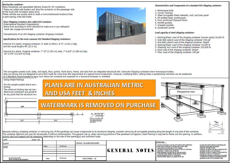 Transportable Office 40 Foot Shipping Container Office   Construction  Office Plans   Blueprints USA feet & Inches - Australian Metric Sizes