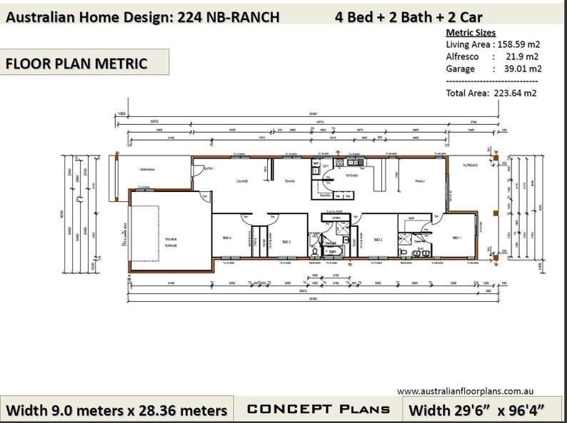 4 Bedroom Ranch Style floor plans | house designs australia | 4 bed + 2  bath + 2 car plan 223 0 m2 / 2400 Sq Foot 223 0 m2 / 2400 Sq Foot