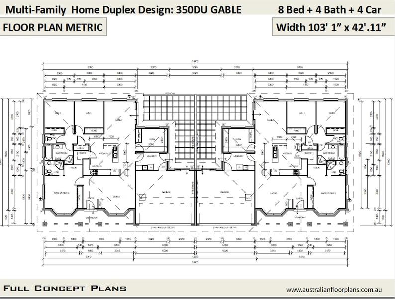 Multi Family Duplex House Plans/ 8 Bedroom Home/ modern ...