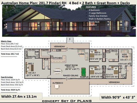 Sloping Land 4 Bedroom house plan 281.7 Pindari | 281 m2 | 3024 sq foot |  house plans on piers and beams | Hillside House Plans For Sale