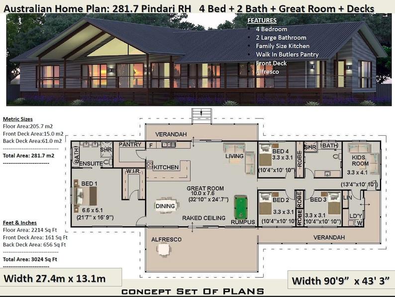 281 M2 3024 Sq Foot 4 Bedroom House Plan 281 7 Pindari Concept House Plans For Sale