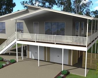166m2 | 3 Bedrooms | Beach Home Plan 3 bed | 3 bedroom Home Beach plans | Modern Beach 3 bed pole home | blueprints | Beach house design