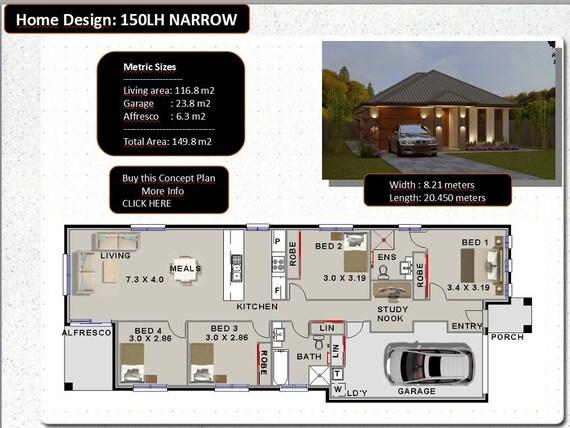 149m2 | 4 Bed 2 Bath | narrow lot | study nook | 4 Bedroom australian on