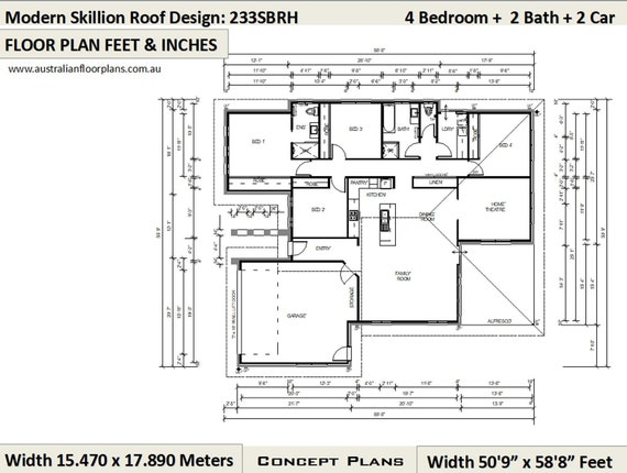 233SBRH Cad (DWG) Version: 2508 Sq Foot (233 m2) house plans | 4 Bedroom  house plans | Home Plans | 4 Bed design | 4 bed + Home Theatre