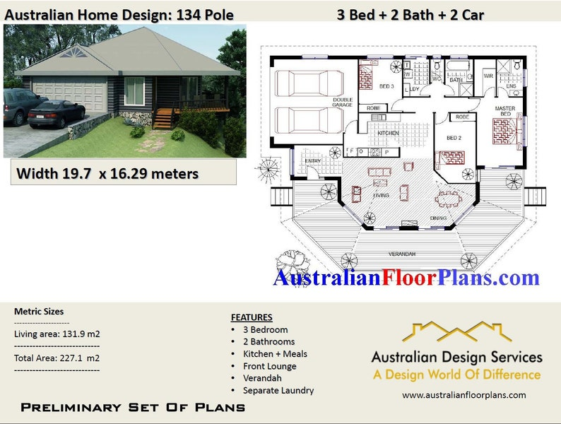3 Bedroom Pole Home 232m2 Home Plan 3 Bed 3 Bedroom Plus Double Garage Home Plans Pole Home 3 Bed Blueprint Home Sloping Land