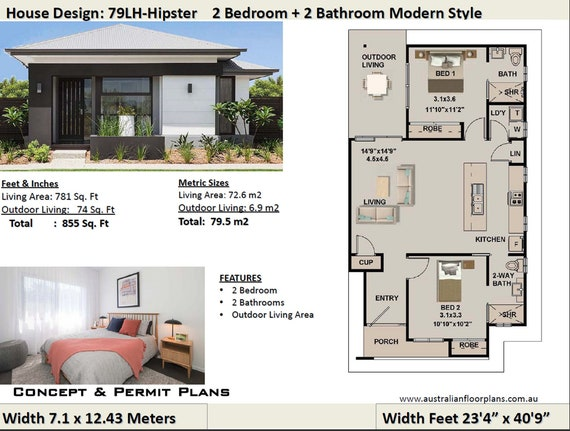 Bedroom House Plan No 79 Hipster Living, House Plans With Outdoor Living Area
