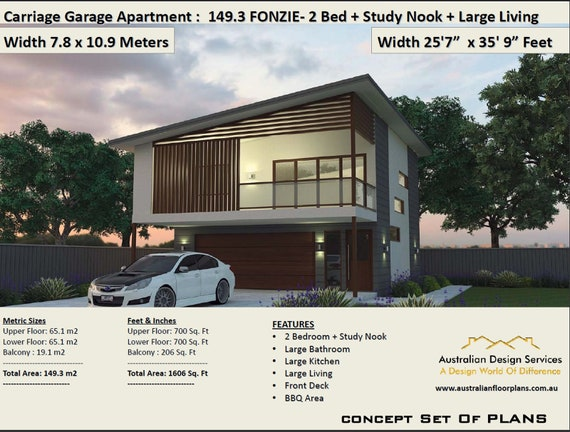 Carriage house Garage Apartment Plan Fonzie 2 Bed + Study house plan Area  149.3 m2 | 1606 sq foot | Garage Apartment | Carriage house