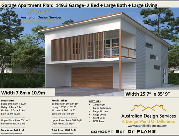 Garage Apartment 2 Bedroom house plan no- 149.3-2020 Living Area 65.1 m2 |  701 sq foot | carriage house | Concept House Plans For Sale