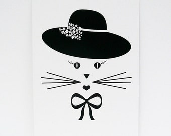 Set of 2 postcards, cat postcard, postcard, minimalist, kawaii cat, minimalist cat, black and white postcard, cat lady, cat face, ChatMage