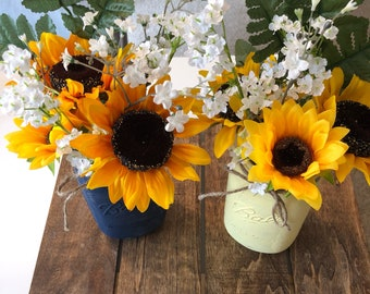 Rustic Mason Jar Set with Sunflowers