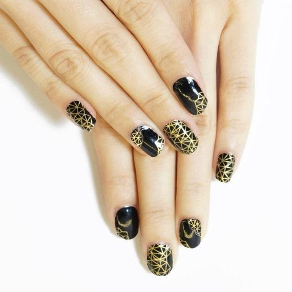 Black Gold Digital Nail Wraps Designer Nail Stickers Etsy