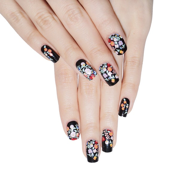 Black Boho floral Nail Wraps / Designer Nail Stickers 22pcs | Etsy