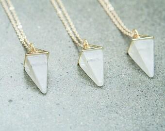 Quartz Necklace - Crystal Necklace - Quartz Pendulum - Gemstone Necklace - Crystal Point Necklace - Layering Necklace - Gifts for Her