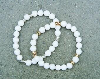 White Jade Bracelet - White Jade - Stretch Bracelet - Beaded Bracelet - Gemstone Bracelet