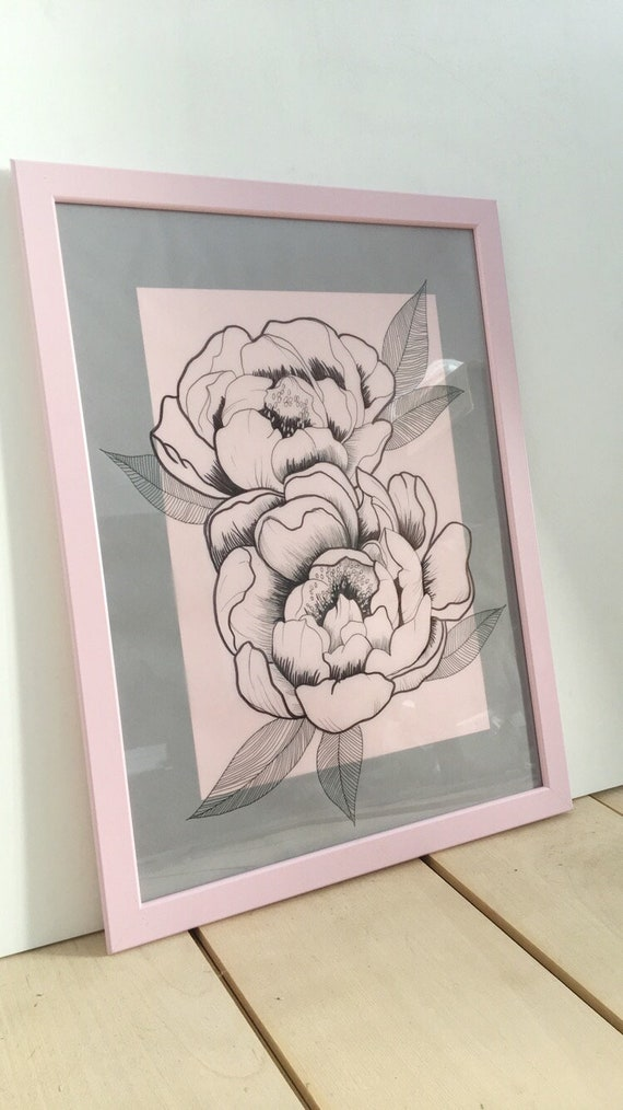 Set Of 3 Peonies Drawing Original Art Abstract Flowers Ink Markers Framed Christmas Gift Anniversary Gift For Her Birthday Handmade Drawing