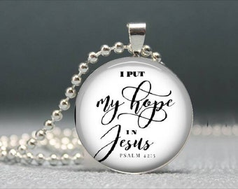 Christian Necklace, Bible Verse Necklace, Scripture Necklace, Psalm 42:5