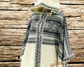 knit poncho, wool poncho, knitted poncho. stylish poncho. white poncho, woman coat, wool coat, woman poncho, woman cape, wool swea