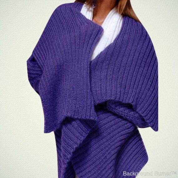 Manta de suéter chaqueta kimono púrpura poncho alpaca Cardigan  ca64048a4f07