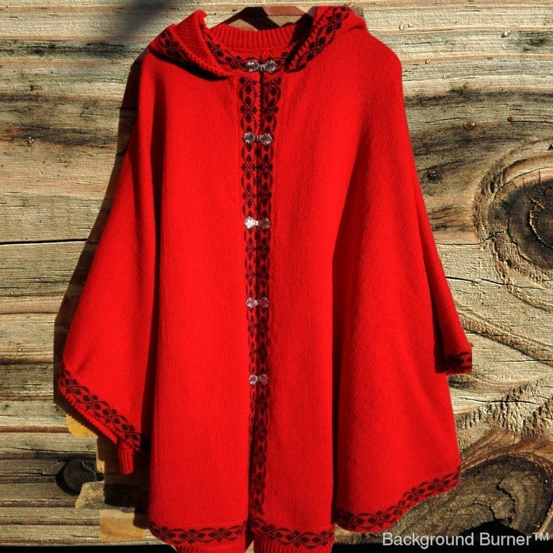 uk poncho wool poncho Knitted red poncho bright colour poncho knitted wool poncho womans poncho lambswool poncho