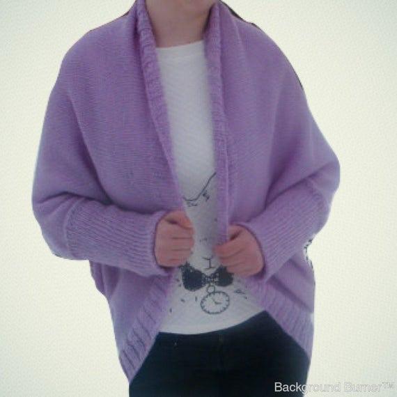 Punto lila Cardigan grueso suéter capullo gran tamaño manta  684210eafecd