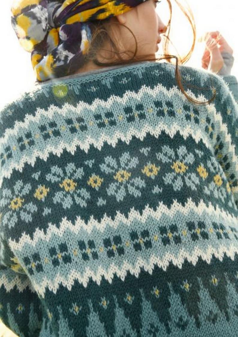 jacquard sweater wool warm pullover fair isle sweater Norwegian pattern knitted sweater chunky sweater,hand knitted sweater
