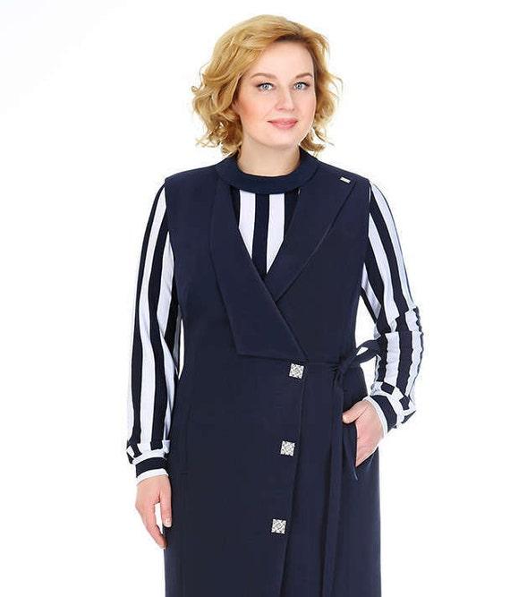 Plus size Women Suits, sets. Women\'s Suit of 2 Pieces. A set of two parts:  dress-vest, blouse.