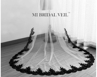 Black Lace Veil, Cathedral Wedding Veil, Lace Wedding Veil, Wedding Veil Lace from Mid Way, Bridal Veil Cathedral, Mi Bridal Veil, Hand Made