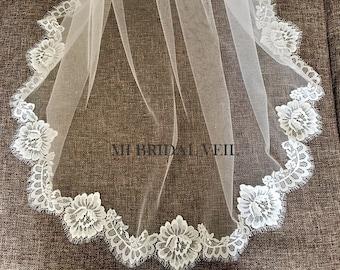 Chantilly Lace Veil, Lace Wedding Veil, Eyelash Lace Veil, Elegant Rose Lace Veil, Lace at Chest, Soft Veil, White/Ivory/Black, Mi Bridal