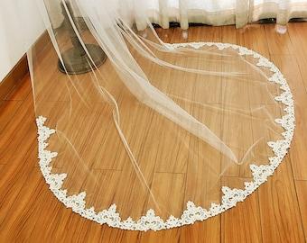 Cathedral Wedding Veil, Beaded Wedding Veil, Vintage Inspired Wedding Veil, Edwardian Bridal Veil, Lace on Bottom, Mi Bridal Veil