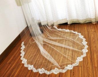 Cathedral Wedding Veil, Chantilly Lace Wedding Veil, Chapel Lace Veil, Eyelash Rose Lace Veil, Soft Boho Wedding Veil, Mi Bridal Veil