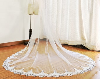 Cathedral Wedding Veil, Lace Wedding Veil with Blusher, Drop Veil Cathedral Lace Veil, Venice Lace Bridal Veil, Crochet Lace Veil, Mi Bridal