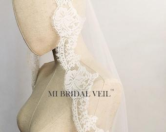 Lace Wedding Veil, Eyelash Chantilly Lace Veil, Rose Lace Bridal Veil, Mantilla Lace Veil, Drop Blusher Veil, Mi Bridal Veil, Hand Made