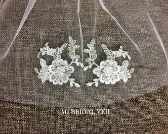 Lace Wedding Veil, Vintage Inspired Rose Appliqués Bridal Veil, Silver Lace Wedding Veil, Lace on Bottom, Mi Bridal Veil, Hand Sew