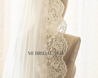 Lace Wedding Veil, Rose Lace Veil, Fingertip Lace Veil, Lace Bridal Veil, Vintage Inspired Single Tier Lace Veil, Mi Bridal Veil, Hand Made