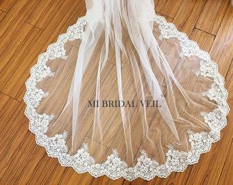 Cathedral Wedding Veil, Lace Wedding Veil, Bridal Veil Cathedral, Lace Bridal Veil, Rose Lace Wedding Veil, Mi Bridal Veil, HAND MADE