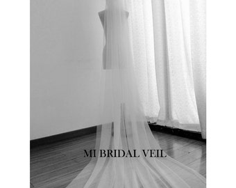 Cathedral Veil, Supper Soft Veil, Soft Tulle Veil, Illusion Tulle Veil, Morden Veil, Mi Bridal Veil