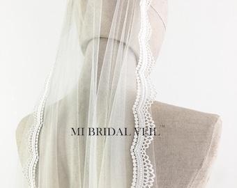 Mantilla Veil, Lace Wedding Veil Fingertip, Crochet Lace Veil, Venice Lace Veil, Small Lace Veil, MI BRIDAL VEIL, Hand Made