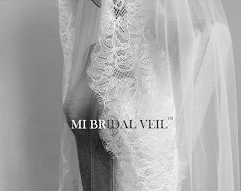 Lace Wedding Veil, Fingertip Wedding Veil, Chantilly Lace Bridal Veil, Eyelash Lace Veil, Boho Bridal Veil, Soft Lace Veil, Mi Bridal Veil