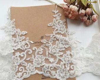 Cathedral Lace Wedding Veil, Cathedral Bridal Lace Veil, Lace Veil at Bottom, Mi Bridal Veil